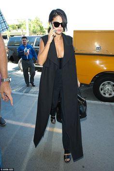 Selena Gomez wearing Prada Saffiano Galleria Tote Bag, Kurt Geiger Carvela Krow Sandals, Camilla and Marc Kaspia Vest, Roland Mouret Lowle Plunging-Neckline Jumpsuit and Celine Audrey Sunglasses