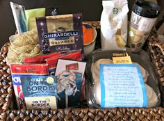 """""""Day of pampering"""" gift basket filled with  Starbucks for a teacher. #deliciouspairings"""