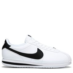 Nike Men's Cortez Basic Leather Sneakers (White/Black) Nike Sneakers, Nike Men, Shoe Game, Leather Sneakers, Summer Shoes, Joggers, Nike Shoes, Runners, Summer Sneakers