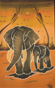 Cuadros de arena de Senegal: junio 2011 African Art Paintings, Animal Paintings, Sand Painting, Art Africain, Africa Art, Black Artwork, Elephant Art, Aboriginal Art, Beautiful Paintings