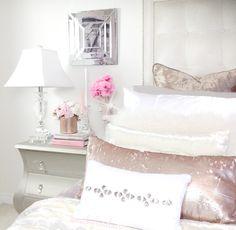 Feminine glam bedroom by Nicky Sinclair via IG | @ nicky.sinclair
