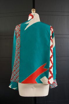 Cropped Shibori #Blouse in #Teal, #Red and #White Mix