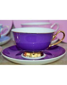 Šálek na čaj * bílo fialový porcelán se zlaceným okrajem, prstencem a ouškem ♥