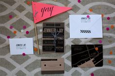 Modern Black Wedding Invitations. Dallas Curow Photography.  Planning by the event room.  www.theeventroom.ca