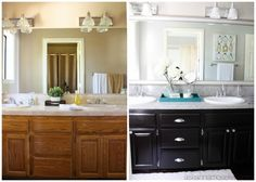 Love a good before & after - amazing bathroom makeover over at Ask Anna.  The MirrorMate frame is like the jewelry in the room! Bathroom before and after - Ask Anna