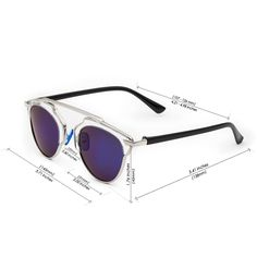 CHB Women's HD Mirrored Lens Creative Metal Frame Street Fashion Designer Polarized Sunglasses UV400 with Case-Silver(blue lens) - $18.98 : www.chb.us.com