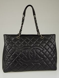 Chanel Black Quilted Caviar Leather XXL Grand Shopping Tote Bag