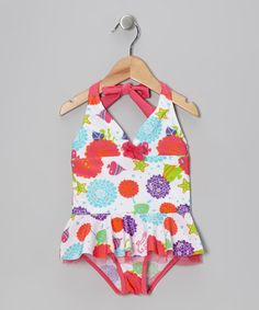 Take a look at this White Sea Wonder Skirted One-Piece - Infant, Toddler & Girls by Rugged Bear on #zulily today!