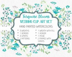 Wedding clip art set in watercolors: turquoise blooms; weddings; watercolor clip art; DIY wedding; instant download by LollysLaneShoppe on Etsy