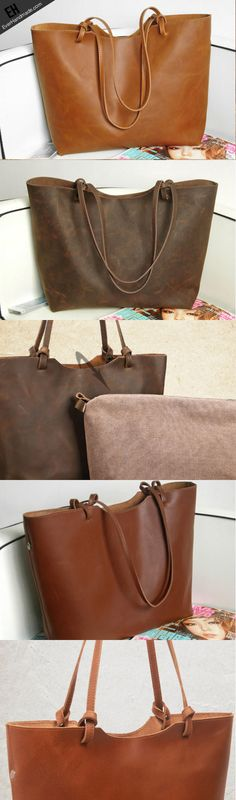 Handmade Leather handbag shoulder bag large tote for women