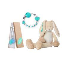 BABY WELCOME SET   HASE   KETTE   SICHERHEITSLÖFFEL FÜR JUNGS Teddy Bear, Toys, Baby, Animals, Rabbit Ears, Presents For Guys, Cuddling, Handmade, Activity Toys