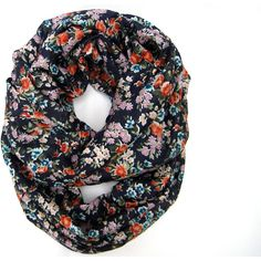 Floral Circle Infinity Scarf Lightweight Endless Loop Scarf Navy Blue Lavender Peach Light Blue White Teen Tube Scarf Womens Accessory and other apparel, access...