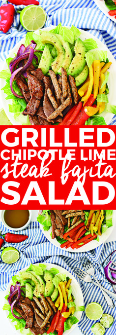 This grilled chipotle lime steak fajita salad is made in 30 minutes (after a savory marinade time) and is a filling and nutritious meal to serve for dinner. It can also be made ahead for a meal prep lunch salad, and is full of delicious flavor. Green Salad Recipes, Lime Recipes, Quick Dinner Recipes, Easy Salads, Healthy Salad Recipes, Summer Salads, Healthy Summer, Mexican Recipes, Steak Salad