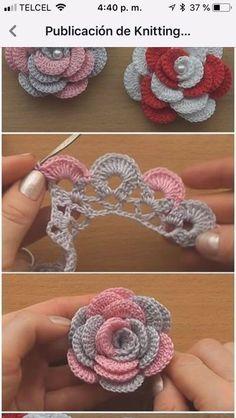 Crochet Flowers 90 FREE Crochet Flower Patterns Visit the post for more. Crochet Leaves, Crochet Motifs, Thread Crochet, Crochet Crafts, Crochet Stitches, Crochet Projects, Crochet Doilies, Knitted Flowers, Diy Crafts