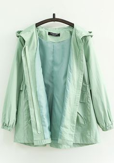 Green Plain Pockets Drawstring Trench Coats - Outerwears - Tops