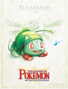 "Bulbasaur as Link - pxlbyte: "" The Legend of Pokemon Graphic designer David Pilatowsky is the man behind these Pokemon - Legend of Zelda mashups. These were of my favourites, you can find the multi-part gallery here."