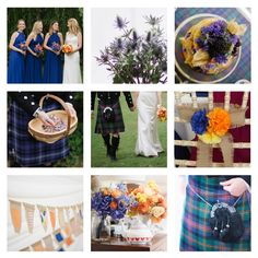 Our Wedding colours mood board. Click to read our blog post - Wedding Styling: matching tartan & colour.