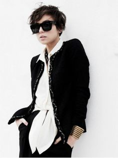 Oooo. Hair, glasses, gold cuff against black and white?  YES.