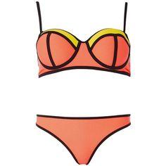 Dorothy Perkins **South Beach Neon Bikini Set ($49) ❤ liked on Polyvore featuring swimwear, bikinis, black, bikini two piece, colorful bikini, bikini swimwear, multicolor bikini and dorothy perkins