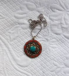 Turquoise Red Coral, Pendant, Bohemian Necklace, Cowgirl Glam Boho Necklace Silver Ball Chain Tibetan Pendant Nepal Necklace Cowgirl Jewelry by LandofBridget on Etsy