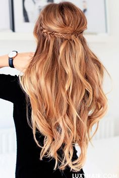 Braided Hal-Up Woth Puff #longhairstyles #braidedhairstyles ★ Are you looking for cute hairstyles that are trendy, as well? We have gathered the loveliest hairstyles that are ideal to wear on a first date. #glaminati #lifestyle #cutehairstyles