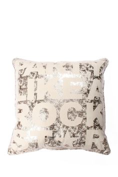 Throw pillow with a block letter quote and metallic crackle finish. Product: PillowConstruction Material: PolyesterColor: Metallic crackleFeatures: Insert includedSewn closure Dimensions: x and Care: Spot clean Gold Pillows, Accent Pillows, Throw Pillows, Dorm Bedding Sets, Cute Cushions, Purse Hook, Welcome To My House, Purse Organization, Girl Decor