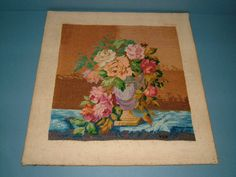 1930s Vintage Needlepoint Sampler of a Vase of by BiminiCricket, $55.00