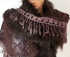 Knitted  Scarf    Headband  Cowl with Lace and Pompom by fatwoman, $22.50