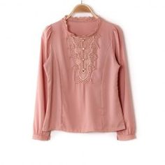 $12.38 Elegant Round Neck Crochet Lace Embellished Solid Color Chiffon Spring Shirt For Women