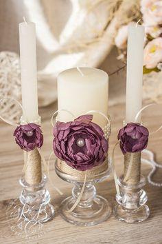 Purple wedding pillar #unitycandles flower wedding от RusticBeachChic