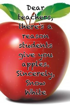 When I saw this I laughed! Then I gave my teacher a Granny Smith!