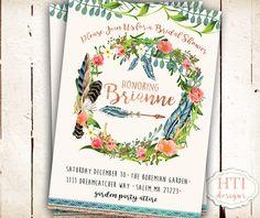 Bohemian Invitation Bridal Shower Invitation by Hottomatoink2