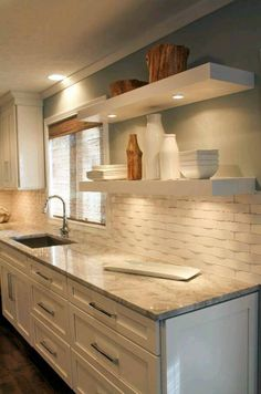 Stylish yet timeless kitchen designs Making your kitchen timeless, functional and gorgeous is not as difficult as you might think. Anyone can create a timeless kitchen design … KITCHEN Kitchen Shelves, Kitchen Redo, Kitchen Dining, Kitchen Ideas, Kitchen Tile, Kitchen Designs, Floating Shelves In Kitchen, Rustic Kitchen, Backsplash Ideas For Kitchen