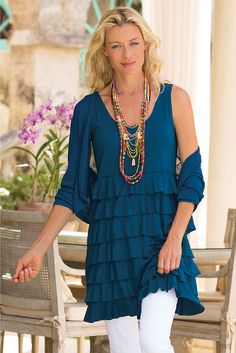 Toulon Tunic - Sassy ruffles up the fun factor on this comfy tunic | Soft Surroundings
