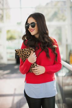 Red #sweater, leopard print purse, black #trousers. #Street spring women fashion @roressclothes closet ideas