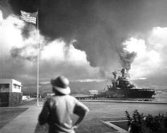 USS California damaged during Pearl Harbor attack, 7 Dec 1941