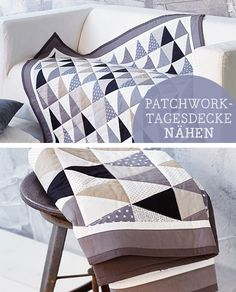 Näh-DIY für Dein Zuhause: Patchworkdecke nähen / sewing diy for you home: how to sew a patchwork blanket, home accessory via DaWanda.com