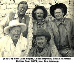 Bottom Row: stunt coordinator Cliff Lyons & actor Ben Johnson on location in Durango, Mexico. John Wayne Quotes, John Wayne Movies, Iconic Movies, Great Movies, I Movie, Movie Stars, Lyon, Iowa, Oklahoma