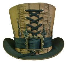 A Steampunk hat. Steampunk is a fiction genre about an alternative history based on steam powered machinery.