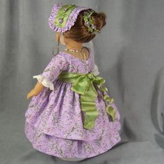 (Back view) ~LET THERE BE LAVENDER~ 6 pc. American Girl Civil War Ensemble: Dress, be-jeweled Sash, Crinoline, Bonnet, Straw Hat, Necklace & length of Hair trim - by idreamofjeannemarie via eBay auction SOLD 6/21/15 $127.50