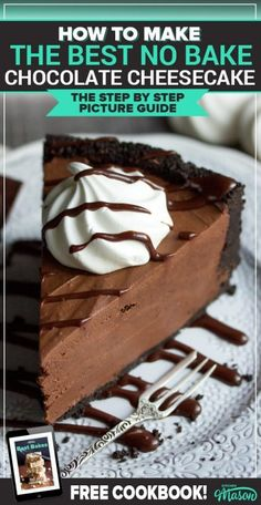 This deeply rich & luxurious chocolate cheesecake recipe is a wonderful no bake cheesecake recipe! Perfect for dinner parties and birthday parties, it's also a perfect make ahead dessert. Chocolate Fudge Sauce, No Bake Chocolate Cheesecake, Baked Cheesecake Recipe, Keto Cheesecake, Homemade Chocolate, Chocolate Caramels, Chocolate Recipes, Make Ahead Desserts, No Bake Desserts