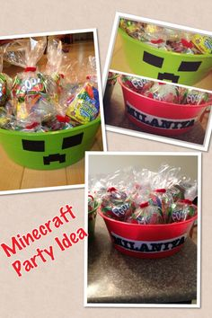 DIY Minecraft party idea! Dollar Tree containers and adhesive fabric from craft store. Add goodie bags to help set theme. If you try this let me know what you think? www.facebook.com/mydatatips