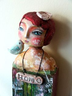 HOME  art doll clay mixed media art by SusanaTavares on Etsy
