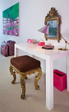 cute and a great example of hi + low decorating- that desk is west elm, i believe.