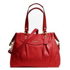Coach Signature Stripe Khaki/Persimon Orange Tote Bag | Designer Purses and Handbags