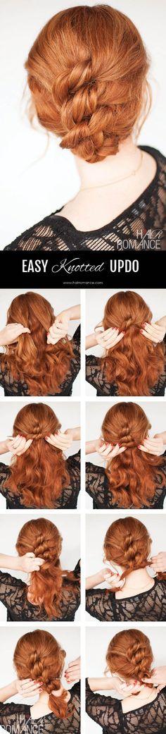 Easy knot updo hair tutorial / http://www.himisspuff.com/easy-diy-braided-hairstyles-tutorials/87/
