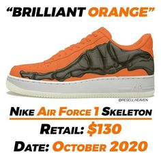 "Gefällt 2,482 Mal, 17 Kommentare - News, Leaks and Predictions (@resell.heaven) auf Instagram: ""The Nike Air Force 1 Skeleton ""Brilliant Orange"" are expected to drop in October around Halloween…"""