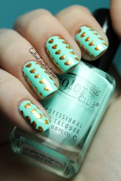 Mint, light green, solid nails with gold metallic hand painted hearts easy free hand nail art