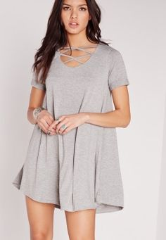 Make sure your wardrobe is topped up with the basic essentials which can be teamed with most things. Opt for this chic swing dress. In a versatile shade of grey, lattice front and short sleeves, you'll be looking totally street bae. Style w. Dress P, Gray Dress, Swing Dress, New Dress, Day Dresses, Casual Dresses, Short Dresses, Islamic Clothing, Latest Dress