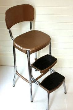 vintage mid century 50u0027s Stylaire Cosco kitchen folding step stool chair chrome & YES! My kitchen chair/stool! I think Iu0027d rather do each piece a ... islam-shia.org